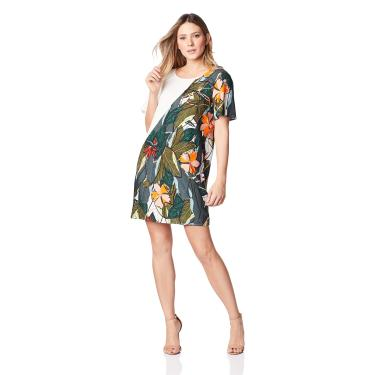 Vestido Curto Estampado, Sommer, Feminino, Verde/Cinza/Laranja/Rosa/Branco/Preto/Azul/Amarelo, P