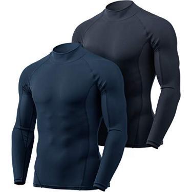 Camiseta masculina de compressão de manga comprida com modelagem seca e fresca TSLA, camiseta esportiva com camada de base esportiva, pacote com 2 (mut62) - azul marinho/carvão, PP