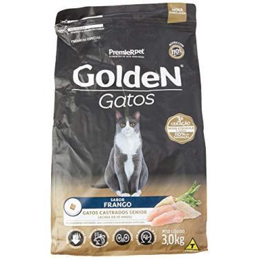 Ração Golden para Gatos Sênior Castrados sabor Frango - 3kg Premier Pet para Todas Todos os tamanhos de raça Idosos - Sabor Sem sabor