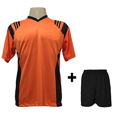 Imagem de Uniforme Esportivo com 18 camisas modelo Roma Laranja/Preto + 18 calções modelo Madrid + 1 Goleiro + Brindes