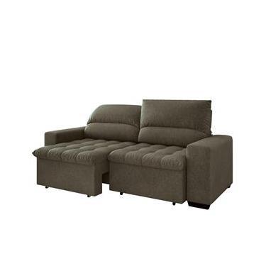 Sofá 4 Lugares Linoforte Terraza com Assento Retrátil e Encosto Reclinável em Tecido Suede 230 cm de largura