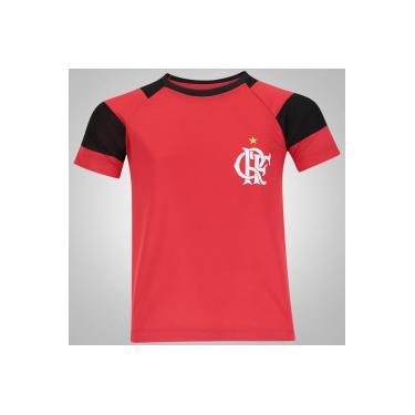 5c4787270e Camiseta do Flamengo Raglan - Infantil - Vermelho Preto Braziline