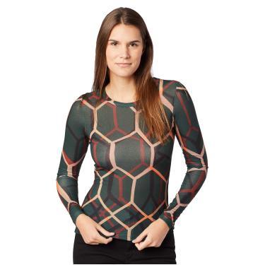 Sommer Blusa Estampada Feminino, P, Verde/Bege/Preto/Laranja