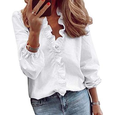 Imagem de Eledobby Camisa Feminina Manga Longa Social Branca Pregas Com Decote Em V Com Babados Branco M