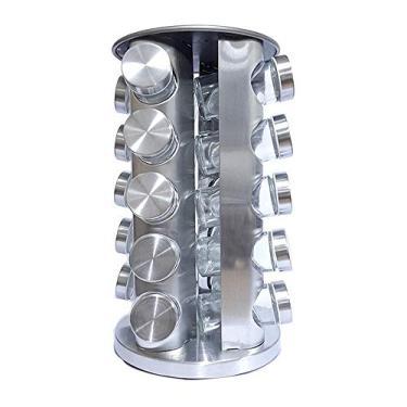 Imagem de Porta Temperos Suporte Giratório Vidro 20 Peças Em Aço Inox