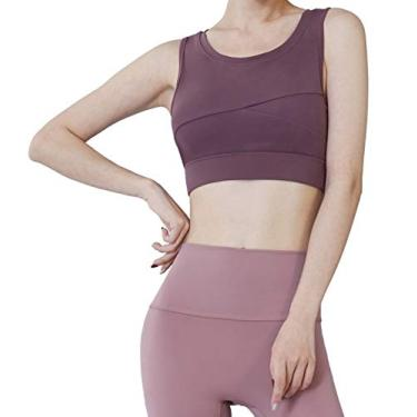 Red Plume Sutiã esportivo feminino acolchoado sem costura com suporte de alto impacto para ioga, academia, fitness, costas nadador, Vermelho, L