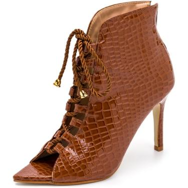 Sandália Bota Ankle Boot Croco Salto Alto Feminina Confortável  feminino