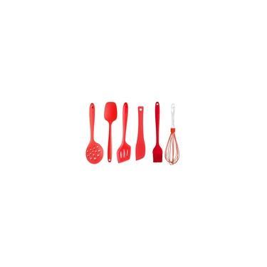 Kit Colher Espátula Pincel 6 Utensílios Silicone Vermelho