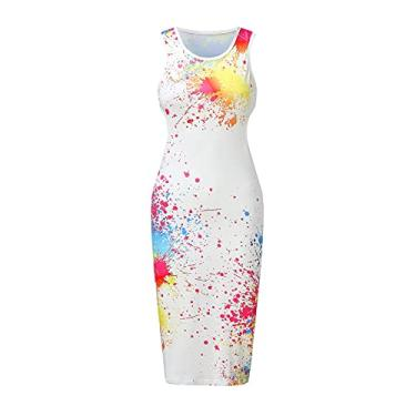 Imagem de SLENDIPLUS Vestido midi colado ao corpo, moderno, tingido, liso, gradiente, para balada, vestido sem costas - 18 estilos, #003: branco, XXG