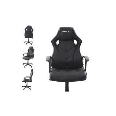 Cadeira Gamer EagleX S1 Preto Com Ajuste de Altura Modo Balanço e Reclinavel