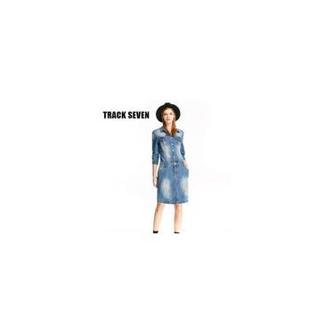 RainmallQuarter track sete Z3221 Mulheres Denim Vestido Magro Trºs vestido de manga Denim