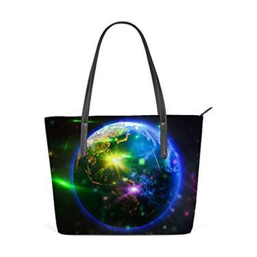 Top Carpenter Bolsa de ombro de couro sintético com alça superior, planeta Terra e estrelas no universo, bolsa mensageiro para mulheres e meninas