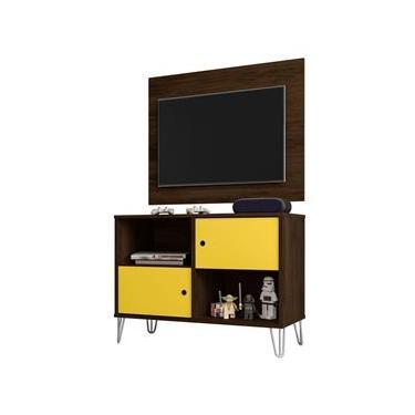 Conjunto Rack Bancada mais Painel Suspenso Talita 50580 Cedro e Amarelo para TV de até 42 Polegadas Sala de Estar Recepção - DS Decor