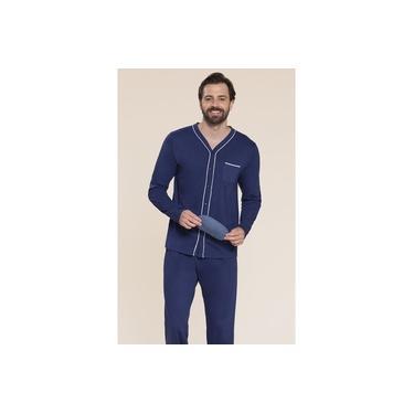 Pijama masculino aberto 100% algodão Azul