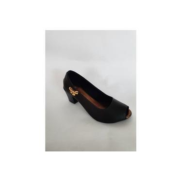 sapato feminino claudia scarpin salto medio com bico aberto em couro ecologico