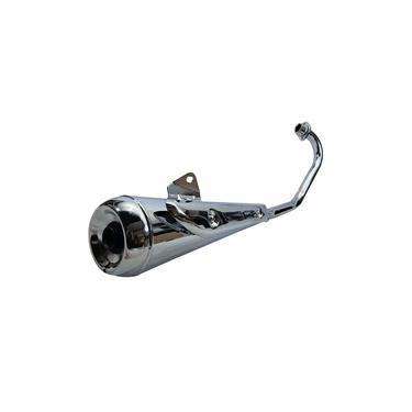 Escapamento Estralador Cromado Fortuna Mini Com Protetor Cg - Titan - Fan 125 De 2000 Ate 2008 Esd - Motos Com Bacalhau