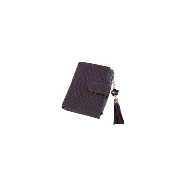 Carteira curta longa Wei feminina com estampa de cobra 6880 roxa