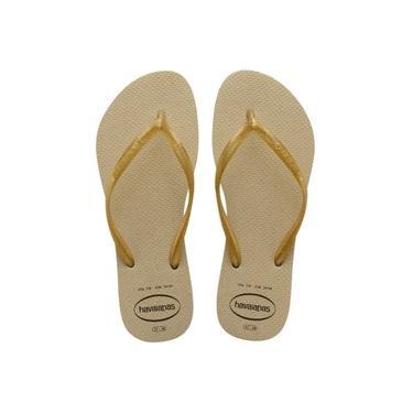Chinelo Havaianas Slim Gloss Areia Dourada Glitter Feminina