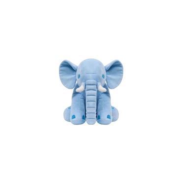 Imagem de Pelúcia Elefante Azul Travesseiro Bebê Almofada 60cm Buba