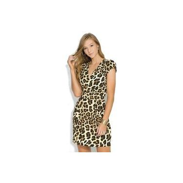 Vestido Feminino Plus Size Onça Animal Print Transpassado