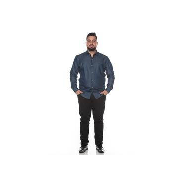 Camisa Social Teodoro Jeans Plus Size Masculina Lisa Casual