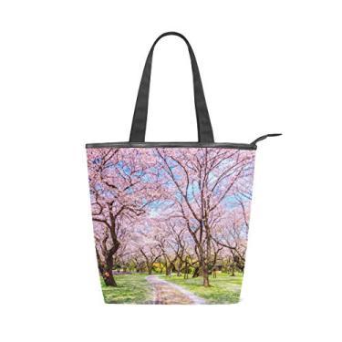 Bolsa de ombro feminina com alça superior de lona, passarela sob a árvore Sakura