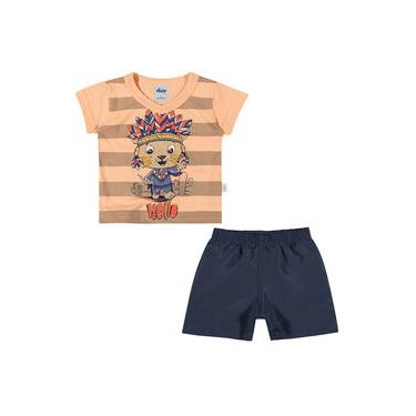 Conjunto Infantil 01 a 03 Anos Elian Camiseta e Bermuda Hello Coral