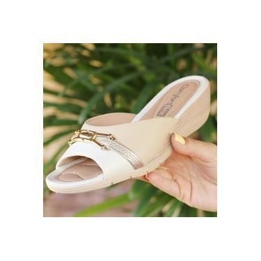 Tamanco Anabelinha Comfort Flex Off White/Ouro/Baunilha Feminino 19-96401