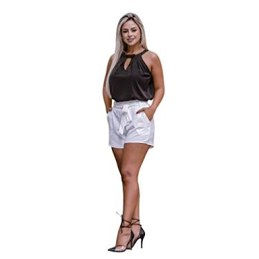 Shorts Feminino Bermuda Social Festa Com Elastico E Cinto (G/40-42, Branco) - B350