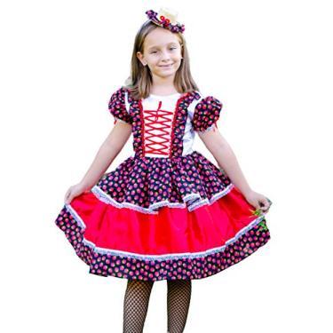 Imagem de Vestido Festa Junina Caipira Infantil Luxo Moranguinho (M-6 a 8 Anos)