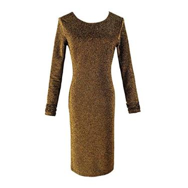Imagem de guohanfsh Vestido feminino moderno, sexy, manga comprida, gola redonda, costas nuas, nó brilhante, glitter, colado ao corpo, mini vestido elegante para festa, dourado