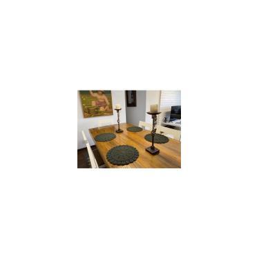 Imagem de Jogo Americano Croche Mesa Posta Sousplat Feito a Mão Supla Artesanal Tam.37 cm - 4 Peças Verde Musgo