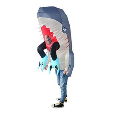 Imagem de MEIYIN Fantasia inflável de tubarão piranha para adultos, roupa divertida para dia das bruxas