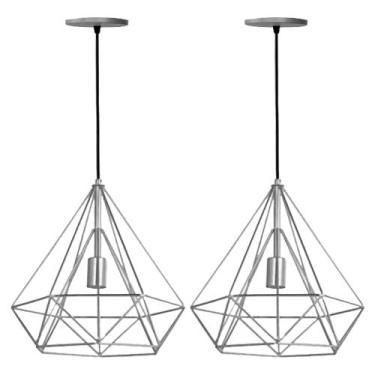 Kit 2  Lustre Pendente Aramado Diamante Pirâmide Prata