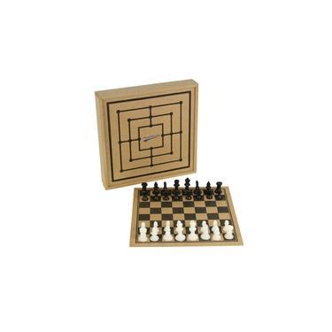 Jogo de Tabuleiro - Xadrez com Estojo - 32 Peças - Madeira - Pentagol