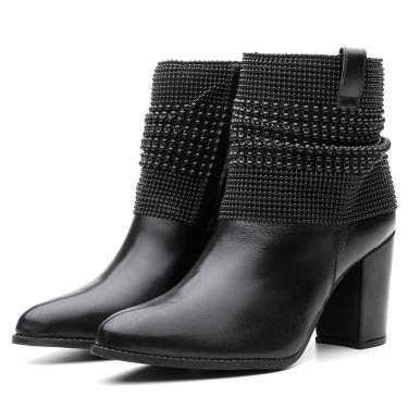 Bota Couro Malha Metal Black Lisa Bico Fino Cano Curto Salto Preto  feminino