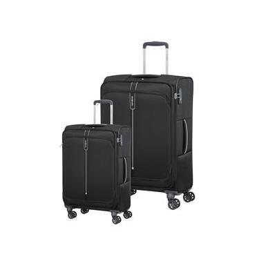 Conjunto de Malas de Viagem Expansível em Poliéster SAMSONITE Popsoda Cadeado TSA 2Pcs P/M Preta