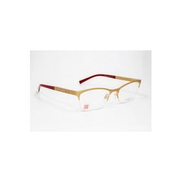Imagem de Armação Óculos Grau Ana Hickmann Ah1282 04C Vinho, Metal Dourado