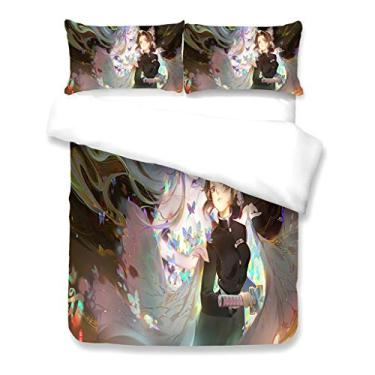 Imagem de Conjunto de cama de 3 peças Demon Slayer Nezuko Tanjiro 3D Anime japonês Jogo de cama Twin Full Queen King Size Fashion Novelty Duvet Cover - 1 capa de edredom com 2 fronhas, decoração de quarto (GMZR-12, Queen)