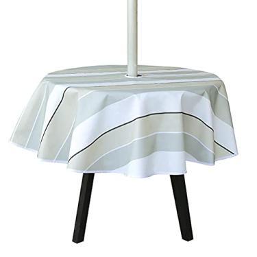 Imagem de Sunfenle Toalha de mesa redonda de 150 cm, impermeável, redonda, com orifício de guarda-sol, toalha de mesa Oxford para jardim, pátio, festa de férias, listras