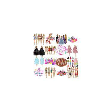 Imagem de Kit De Acessórios Para Bonecas Barbie - Vestidos Sapatos Casacos Bolsas Baby Doll