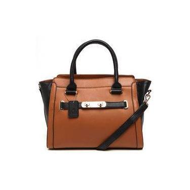 Bolsa Tote Bag Media Bicolor Alice Palucci Preto/marrom Al4803