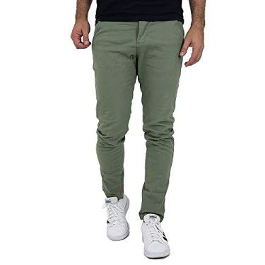 Calça Masculina Slim Verde Oliva Sarja Com Elastano Tamanho:36