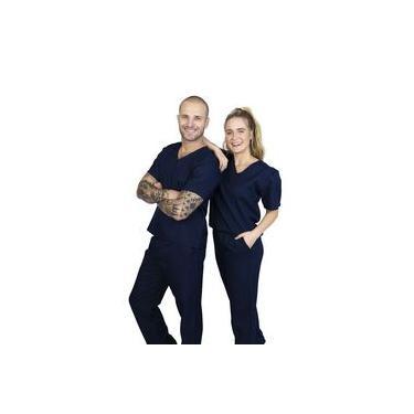 Pijama Cirúrgico Conjunto Hospitalar-unissex-scrub-(Azul Marinho)