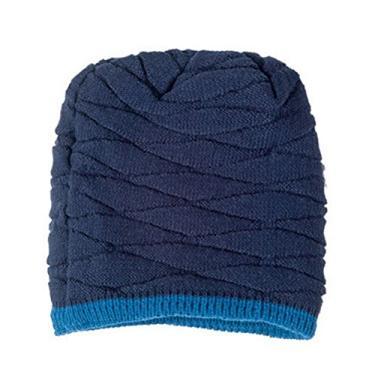 PIXNOR Gorro de tricô masculino macio forrado gorro de inverno despojado (azul marinho)