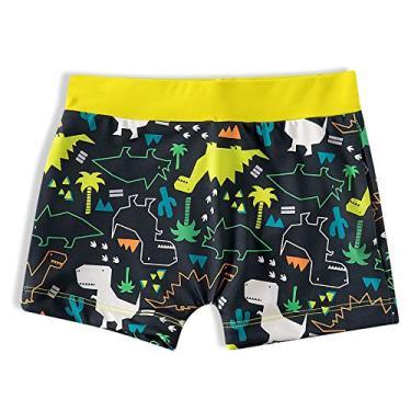 Sunga Shorts Praia Infantil Dinossauro Mescla Amarelo Tip Top - Tamanho 2