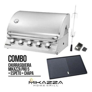 Imagem de Churrasqueira À Gás Embutir Mikazza Pro 5 Combo + Chapa + Espeto Girat