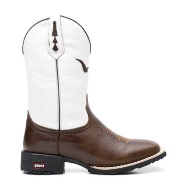 Bota Texana Branco Com Pitstop Bico Quadrado 02145 - Masculino 72db7c5e6c9