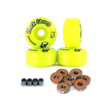 4 Roda Skate Street 51mm Black Sheep C Rolamento E Espaçador - Amarela