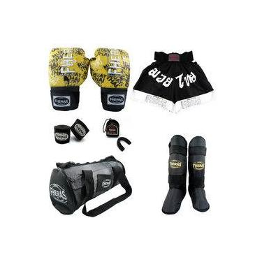 Kit Boxe Muay Thai Fheras Completo 12 oz Grafite